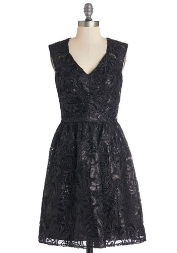 Twinkling at Twilight Dress in Noir - Prom, Wedding, Bridesmaid, LBD, Variation, Woven, Lace, Black, Solid, Cutout, Sequins, Sleeveless, Mid-length, Party, Homecoming, Cocktail, Full-Size Run, Special Occasion, Fit & Flare