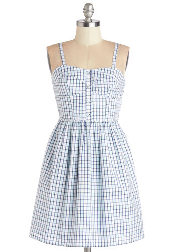 Blueprint Artist Dress - White, Buttons, Cutout, Casual, Sundress, A-line, Better, Sweetheart, Plaid, Sleeveless, Summer, Woven, Cotton, Mid-length, Blue