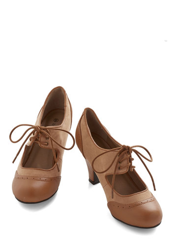 The Best of Times Heel in Caramel - Brown, Tan, Solid, Work, Vintage Inspired, Mid, Good, Mary Jane, Lace Up, 20s, Exclusives