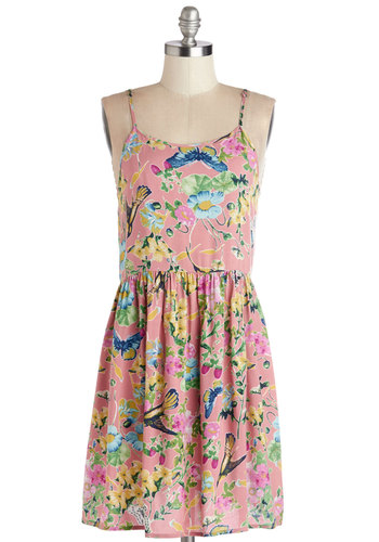 Eternal Springtime Dress - Multi, Floral, Casual, Sundress, A-line, Good, Scoop, Print with Animals, Summer, Woven, Mid-length, Pink, Spaghetti Straps