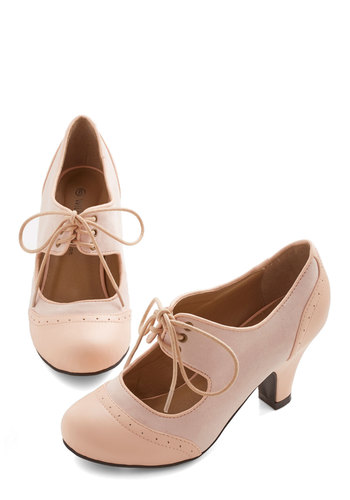 The Best of Times Heel in Petal - Pink, Solid, Cutout, Special Occasion, Wedding, Vintage Inspired, Mid, Good, Mary Jane, Lace Up, 20s, Exclusives, Social Placements, Pastel, Valentine's