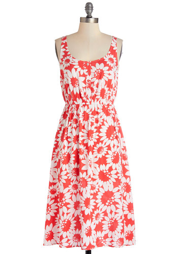 These Daisies Dress - White, Floral, Buttons, Casual, Sundress, A-line, Good, Scoop, Coral, Sleeveless, Summer, Woven, Exclusives, Long