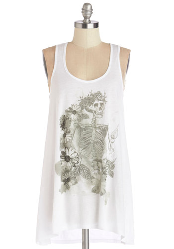 In Grateful Swing Tank - White, Sleeveless, White, Grey, Novelty Print, Casual, Skulls, Spring, Summer, Scoop, Good, Knit, Long, Festival