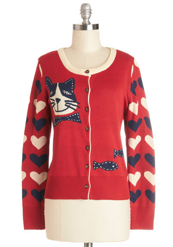 Newfound Friendship Cardigan - Red, Long Sleeve, Knit, Mid-length, Red, Blue, Tan / Cream, Print with Animals, Buttons, Quirky, Cats, Long Sleeve, Casual