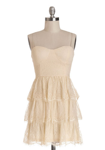 Storybook Tourist Dress - Short, Knit, Cream, Solid, Lace, Tiered, Party, A-line, Summer, Better, Sweetheart, Strapless