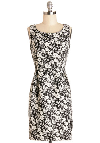 With High Distinction Dress by Yumi - Black, White, Floral, Bows, Cutout, Shift, Sleeveless, Woven, Better, Scoop, Mid-length, Party, Work