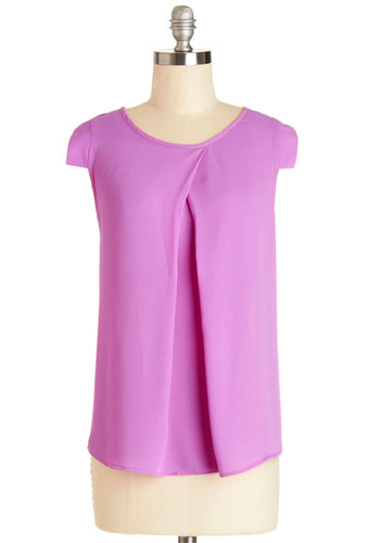Jetsetter's Jewel Top in Orchid - Solid, Work, Cap Sleeves, Spring, Purple, Short Sleeve, Variation, Pink, Scoop, Mid-length, Chiffon, Sheer, Woven