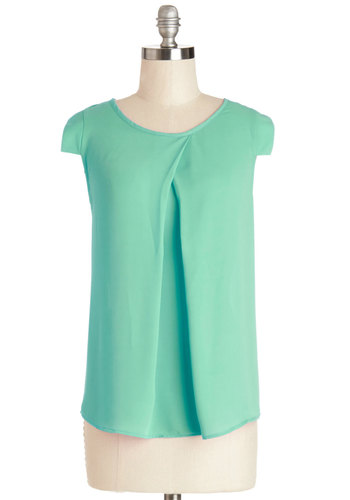 Jetsetter's Jewel Top in Mint - Mint, Solid, Work, Cap Sleeves, Spring, Variation, Green, Short Sleeve, Scoop, Mid-length, Chiffon, Sheer, Woven