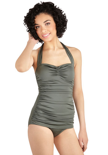Bathing Beauty One-Piece Swimsuit in Sage by Esther Williams - Green, Solid, Halter, Summer, Best Seller, Beach/Resort, Variation, Pinup, Vintage Inspired, 40s, 50s, 60s, Contour, Top Rated