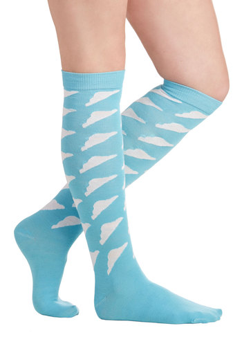 Sky Steppin' Socks by Kling - Blue, White, Print, Good, International Designer, Knit