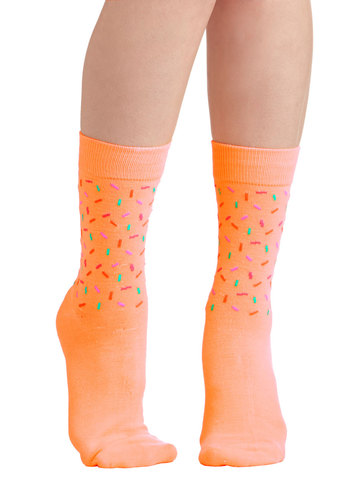 Sweet Sprinkles Socks by Kling - Orange, Multi, Print, Good, International Designer, Knit, Casual, Quirky