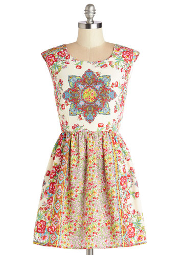 Brilliantly Balanced Dress - Multi, Print, Cutout, Exposed zipper, Casual, A-line, Cap Sleeves, Better, Scoop, Summer, Woven, Short, Boho, Festival