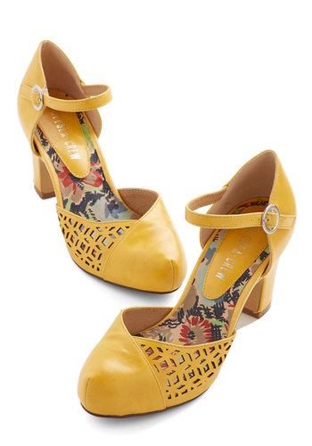 Vivacious Visit Heel in Saffron by Chelsea Crew - Mid, Faux Leather, Yellow, Solid, Cutout, Wedding, Party, Work, Daytime Party, Vintage Inspired, 20s, Better, Variation, 30s, 40s