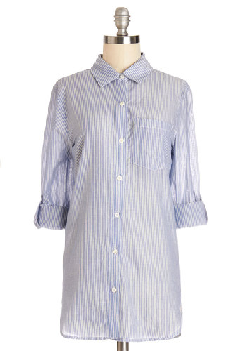 Oceanview Morning Tunic - Blue, Tab Sleeve, Cotton, Woven, Long, Blue, Stripes, Buttons, Pockets, Work, Casual, Menswear Inspired, Long Sleeve, Spring