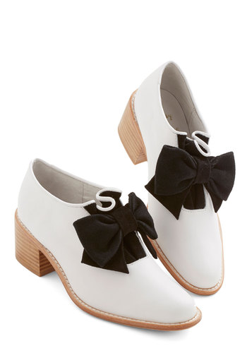 Suit and Bowtie Heel - Mid, Leather, White, Black, Solid, Bows, Wedding, Party, Daytime Party, Menswear Inspired, Best, Chunky heel