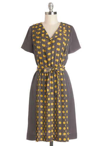 Spot the Stylista Dress by Myrtlewood - Woven, Mid-length, Yellow, Grey, Polka Dots, Belted, Casual, A-line, Short Sleeves, Better, Buttons, Pleats, Exclusives, Private Label, Collared, Full-Size Run