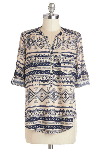 Prose at Dawn Top - Mid-length, Woven, Blue, Print, Work, Long Sleeve, Spring, Brown, Tab Sleeve, Multi, Tan / Cream, Buttons, Pockets, Casual, Novelty Print