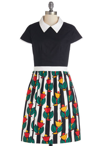 Bookstore Browsing Dress by Bea & Dot - Cotton, Multi, Casual, A-line, Short Sleeves, Collared, Floral, Pockets, Twofer, Exclusives, Private Label, Full-Size Run, Mid-length