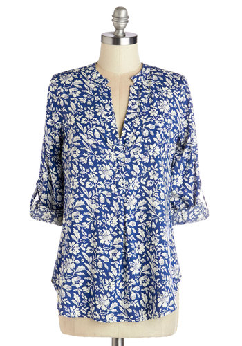 Tending, Love, and Care Top - Mid-length, Knit, Blue, White, Floral, Buttons, Work, Long Sleeve, Spring, Blue, Tab Sleeve