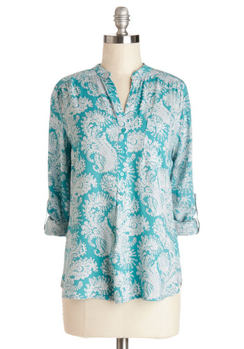 Cute as Can Beeline Top - Mid-length, Woven, Blue, Grey, Paisley, Buttons, Pockets, Work, Long Sleeve, Spring, Blue, Tab Sleeve