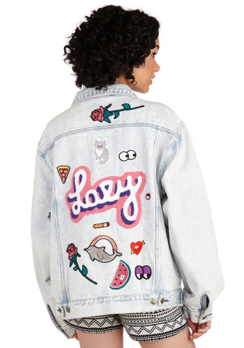 Join the Club Jacket by Lazy Oaf - 2, Blue, Buttons, Embroidery, Patch, Pockets, Rhinestones, Casual, Vintage Inspired, 90s, Statement, Festival, Long Sleeve, Denim, Better, Blue, Long Sleeve, Solid, Woven, Spring