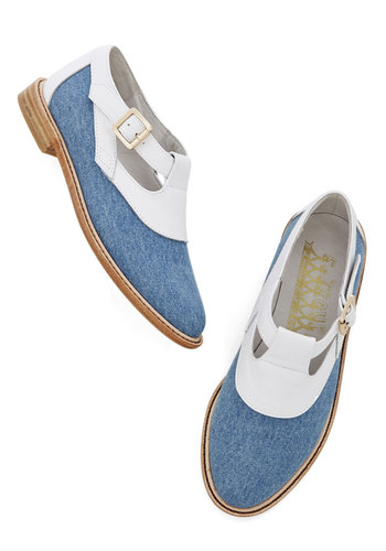 Tap Dancing on Air Flat - Low, Leather, Blue, White, Solid, Buckles, Daytime Party, Best, Menswear Inspired, Vintage Inspired, 20s, Woven