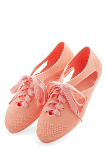 Merry-Go-Round Town Flat in Peach - Flat, Solid, Cutout, Casual, Pastel, Better, Lace Up, Variation, Coral, Summer