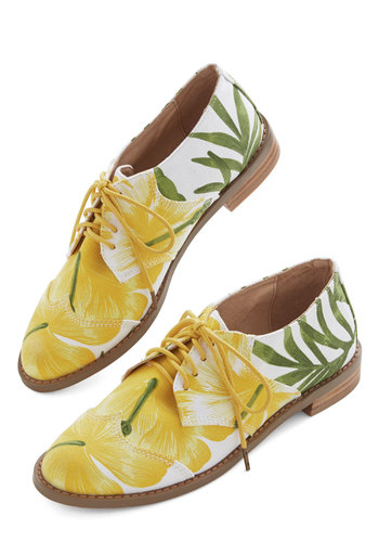 Paradise Pretty Flat - Low, Woven, Yellow, Green, White, Novelty Print, Menswear Inspired, Vintage Inspired, 20s, Best, Lace Up, Yellow, Floral, Beach/Resort