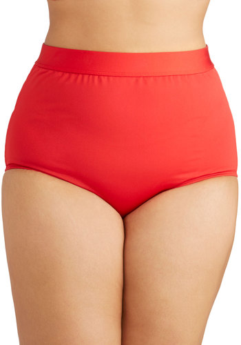 Seaside Serenity Swimsuit Bottom in Red - Plus Size by Monif C - Red, Beach/Resort, Knit, High Waist, Solid, Minimal, Summer, Underwire, Americana