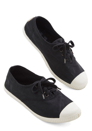 Sure Steps Flat in Black - Flat, Woven, Black, White, Solid, Casual, Spring, Summer, Lace Up, Variation