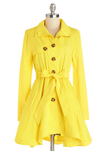 Just Called to Say Hyannis Coat in Yellow by Jack by BB Dakota - Good, Yellow, Cotton, Woven, Yellow, Solid, Buttons, Pockets, Belted, Casual, Nautical, Long Sleeve, Long Sleeve, Spring, Variation, 2, Long, Exclusives