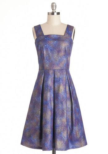 Firework Wonders Dress by Bea & Dot - Cotton, Long, Blue, Purple, Print, Pleats, Party, Tank top (2 thick straps), Better, Pockets, Exclusives, Private Label, Full-Size Run