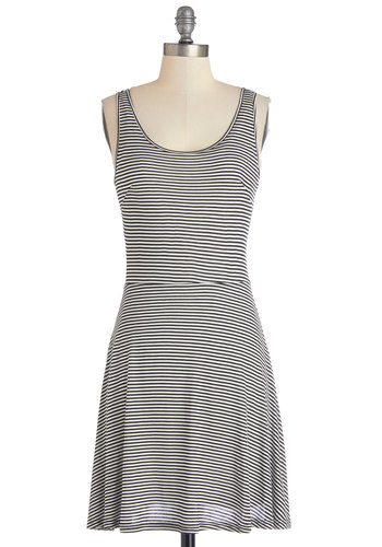 Schooner Than You Think Dress by Jack by BB Dakota - Knit, Mid-length, Black, White, Stripes, Casual, A-line, Tank top (2 thick straps), Good, Scoop, Full-Size Run