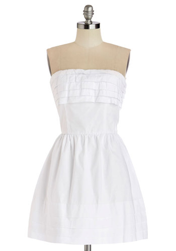 What a Keeper Dress in White by Jack by BB Dakota - White, Cotton, Woven, Short, Solid, A-line, Strapless, Better, Pleats, Tiered, Casual, Graduation, Variation