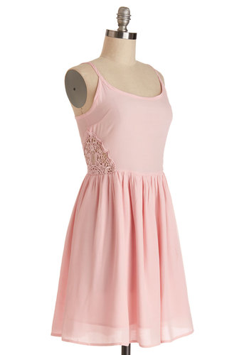 Pretty en Pointe Dress by Jack by BB Dakota - Mid-length, Chiffon, Sheer, Woven, Pink, Solid, Crochet, Casual, A-line, Spaghetti Straps, Better, Scoop, Pastel, Sundress