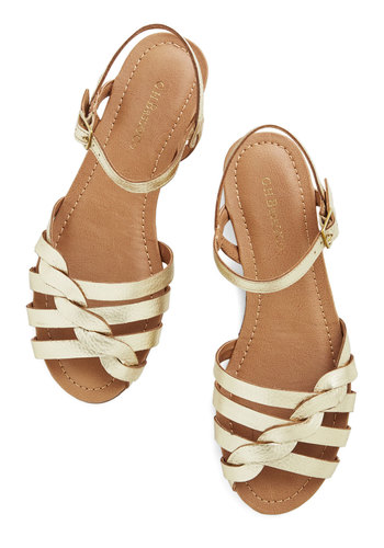 Come Out and Plait Sandal in Gold by Bass - Low, Leather, Gold, Solid, Daytime Party, Beach/Resort, Variation, Summer