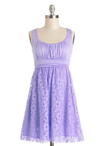 Artisan Iced Tea Dress in Lavender - Jersey, Knit, Lace, Lavender, Solid, Casual, Sundress, A-line, Tank top (2 thick straps), Good, Scoop, Lace, Pastel, Variation, Maternity, Summer, Best Seller, Top Rated, Full-Size Run, Mid-length