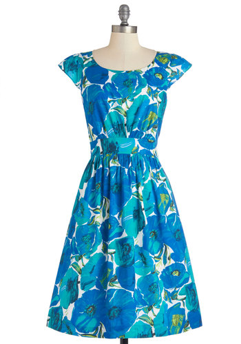 Get What You Dessert Dress in Cool Blooms by Emily and Fin - Floral, Daytime Party, A-line, Cap Sleeves, Better, Scoop, Cotton, Woven, Blue, Green, White, Pockets, Variation, Top Rated