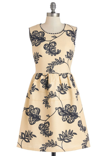 Just Fleur You Dress - Cream, Blue, Print, Scallops, Casual, A-line, Sleeveless, Woven, Good, Scoop, Mid-length