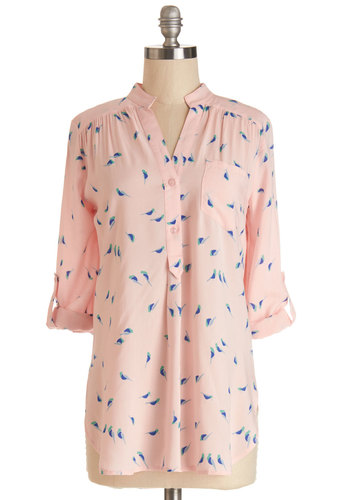 Falling in Puppy Love Tunic in Birds - Woven, Long, Pink, Blue, Print with Animals, Buttons, Pockets, Pastel, 3/4 Sleeve, Spring, Pink, Tab Sleeve, Variation, Casual, Maternity, Critters, Bird, Woodland Creature