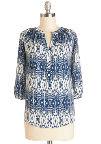 Happy Afternoon Top - Woven, Mid-length, Blue, Print, Buttons, Work, 3/4 Sleeve, Spring, Blue, 3/4 Sleeve, White, Novelty Print