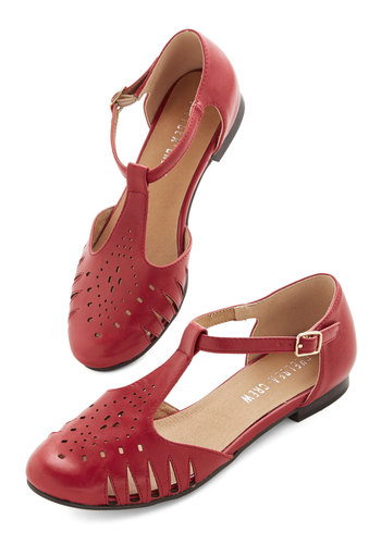Chic to the Next Level Flat in Red by Chelsea Crew - Flat, Faux Leather, Red, Solid, Cutout, Casual, Daytime Party, Spring, T-Strap, Vintage Inspired, 20s, 30s, 40s, Variation, Press Placement