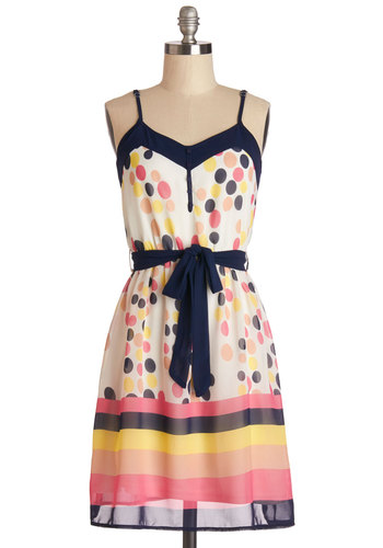 Show Your Colors Dress - Multi, Polka Dots, Stripes, Buttons, Belted, Casual, A-line, Summer, Woven, Good, V Neck, Mid-length, Spaghetti Straps