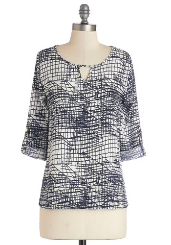 Urban Scrawl Top - Mid-length, Woven, Multi, White, Print, Work, 3/4 Sleeve, Scoop, Black/White, Tab Sleeve, Blue