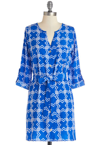 Believe It or Notorious Tunic - Blue, Tab Sleeve, Long, Blue, White, Print, Buttons, Belted, Work, 3/4 Sleeve, Spring, Pockets