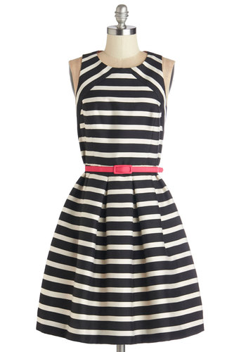 Socialite Up the Room Dress - Black, White, Stripes, Pockets, Belted, Party, Daytime Party, A-line, Sleeveless, Woven, Better, Scoop, Mid-length