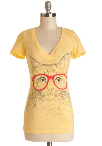Fur Sighted Top in V-neck - Knit, Cotton, Mid-length, Yellow, Print with Animals, Cats, Short Sleeves, V Neck, Yellow, Short Sleeve, Quirky, Critters, Spring, Summer, Good