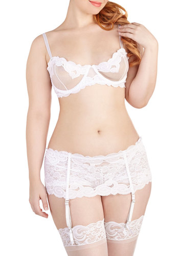 Hip, Hip, Cabaret Intimate Set in White - Plus Size - Sheer, Knit, Lace, White, Solid, Lace, Wedding, Bride, Boudoir