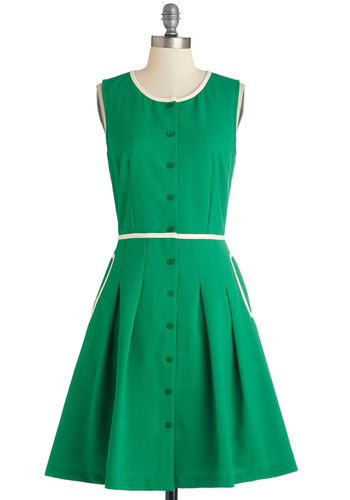 Greenery Greetings Dress - Green, White, Solid, Buttons, Pleats, Trim, Work, Casual, Vintage Inspired, 60s, A-line, Sleeveless, Woven, Better, Scoop, Pockets, 50s, Americana, Mid-length
