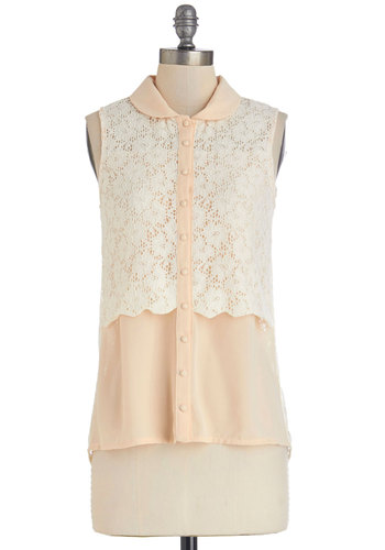 Epicurean Evening Top - White, Sleeveless, Mid-length, Cream, Solid, Buttons, Lace, Peter Pan Collar, Work, Vintage Inspired, Darling, Sleeveless, Spring, Collared, Summer, Good